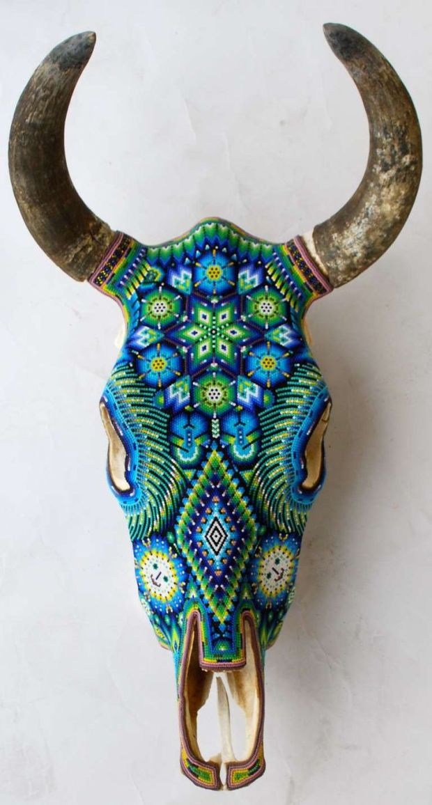 Beautiful Huichol Indian Beaded Cow Skull