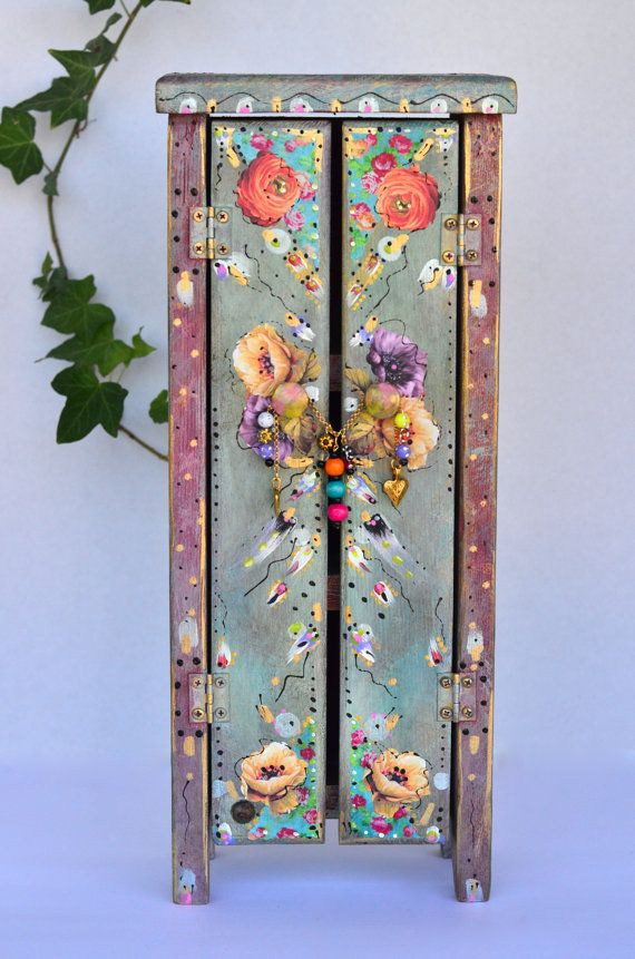 Boho Wooden Standing Cabinet Mexican Cottage by OliviabyDesign