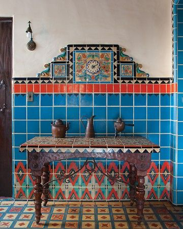 Tiled Kitchen In a historic 1920s house in Malibu, California, the kitchens geometric tile patterns have been described as Pueblo Deco.