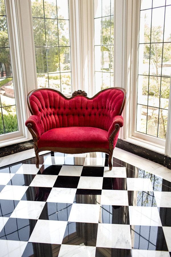 black & white checkered floor,